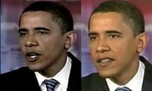 The right-side image is the real Obama...